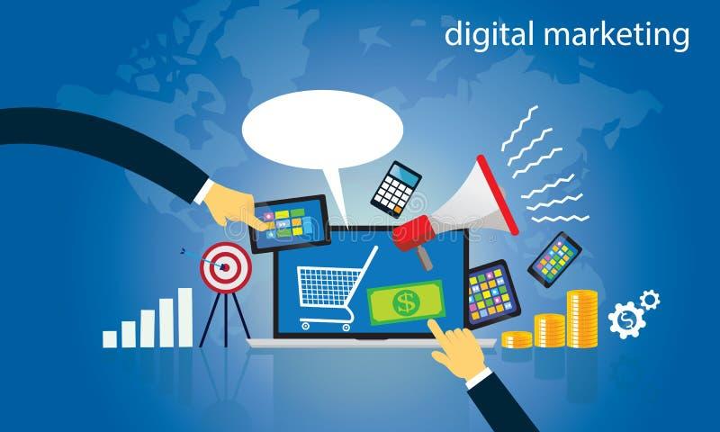 Conceito do negócio Vetor em linha do mercado de Digitas do Internet ilustração do vetor