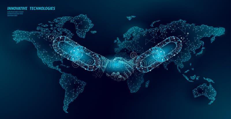 Conceito do neg?cio do aperto de m?o do acordo da tecnologia de Blockchain baixo poli Linha poligonal projeto geom?trico do ponto ilustração royalty free