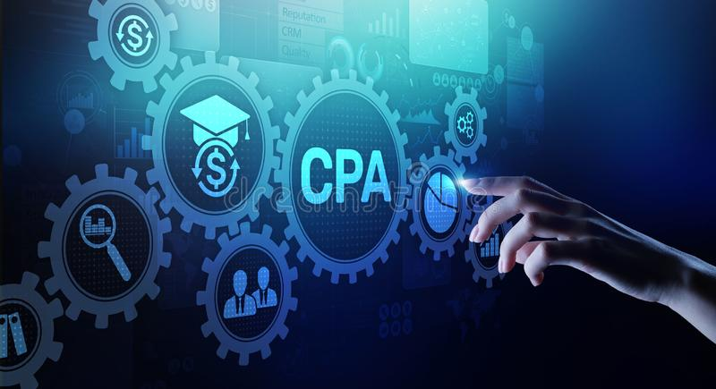 Conceito do neg?cio da auditoria de CPA Certified Public Accountant na tela virtual imagem de stock
