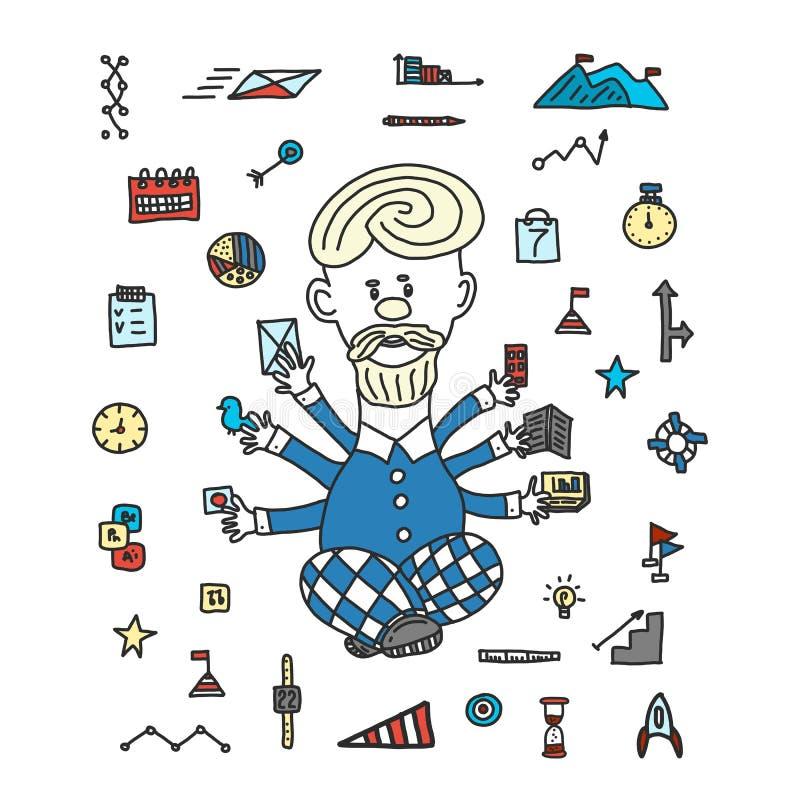 Conceito do neg?cio dos dispositivos do homem de neg?cios da gest?o de tempo estilo dos desenhos animados tirado à mão Um homem m ilustração stock