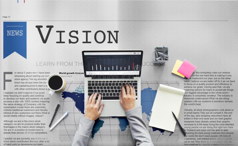 Conceito do objetivo da motivação da inspiração do valor da visão foto de stock