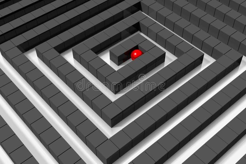 conceito do OBJETIVO de 3D LABYRYNTH/ ilustração stock