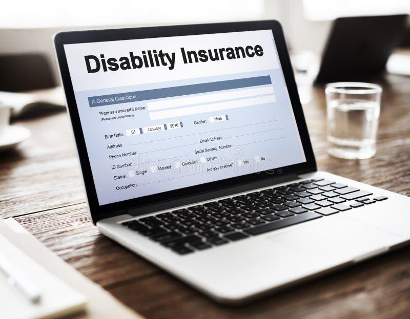 Conceito do original do formulário de reclamação do seguro de invalidez fotos de stock