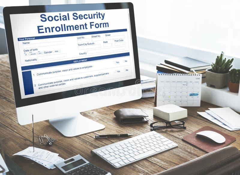 Conceito do original do formulário do registro da segurança social fotos de stock