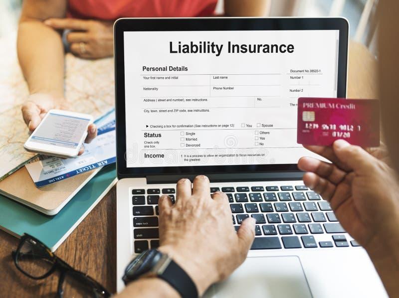 Conceito do original do formulário do risco do dinheiro do seguro de responsabilidade fotografia de stock royalty free