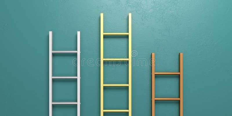 Conceito do pódio dos vencedores Escadas do metal que inclinam-se contra uma parede verde ilustração 3D ilustração do vetor