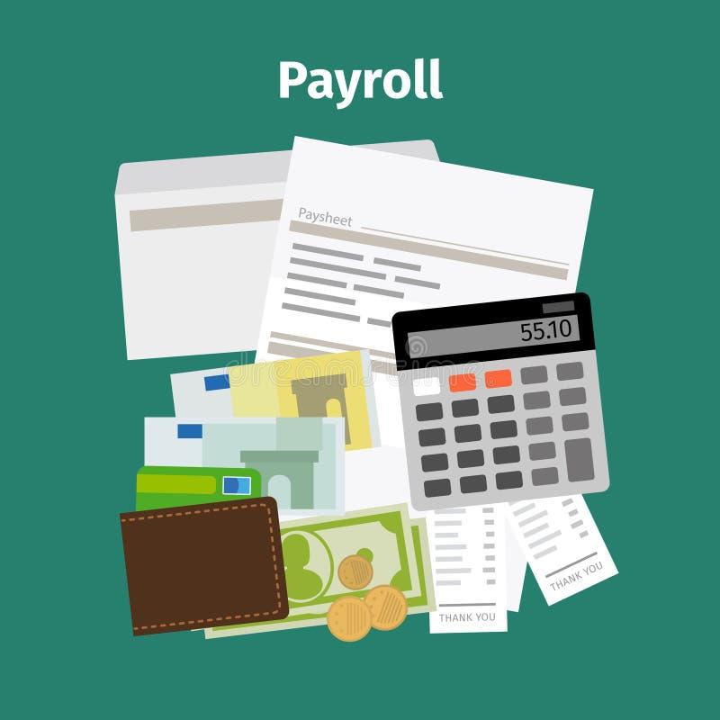 Conceito do pagamento do salário da folha de pagamento ilustração royalty free
