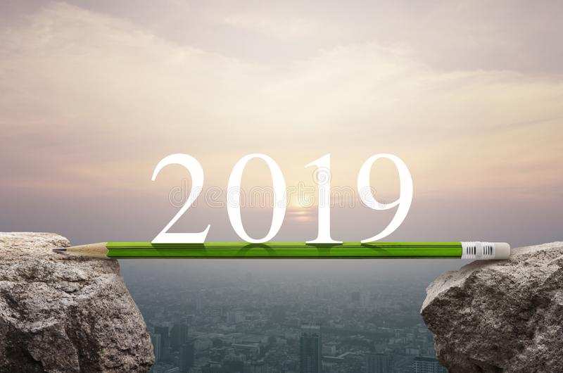 Conceito do planeamento da estratégia do sucesso comercial, ano novo feliz 2019 imagem de stock