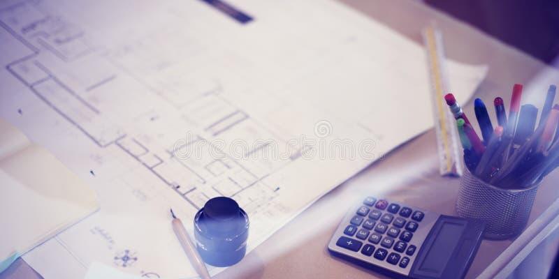 Conceito do planeamento do funcionamento de projeto do modelo da construção fotos de stock royalty free