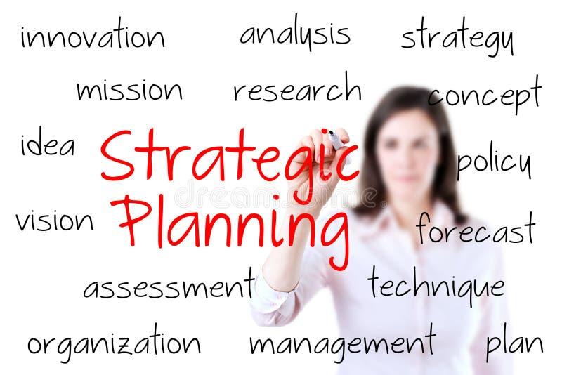 Conceito do planejamento estratégico da escrita da mulher de negócios fotografia de stock royalty free