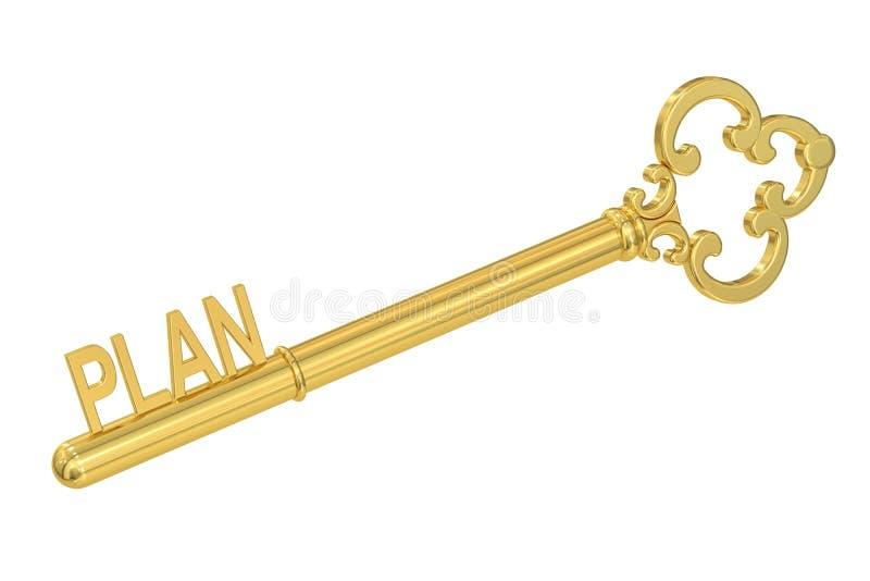 Conceito do plano com chave dourada, 3D ilustração stock