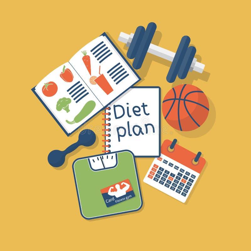 Conceito do plano da dieta ilustração do vetor