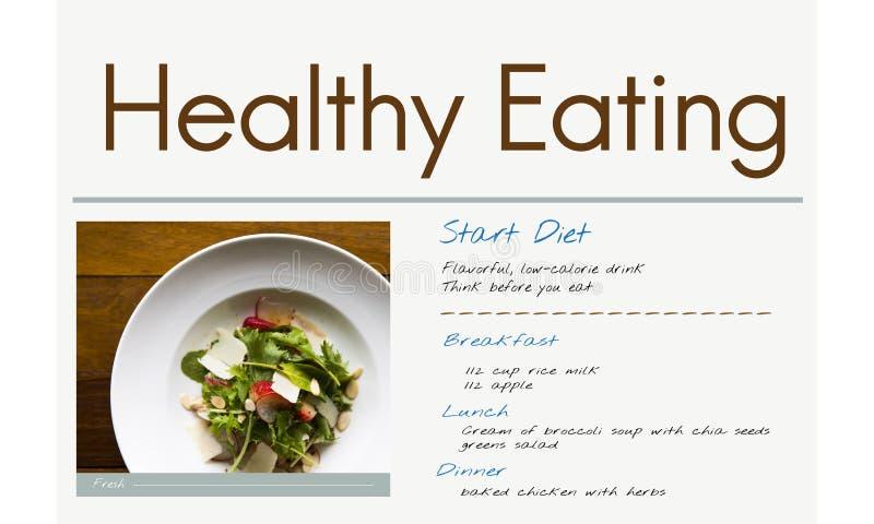 Conceito do plano da dieta saudável da nutrição ilustração do vetor