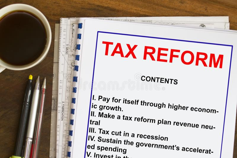Conceito do plano da reforma fiscal fotos de stock