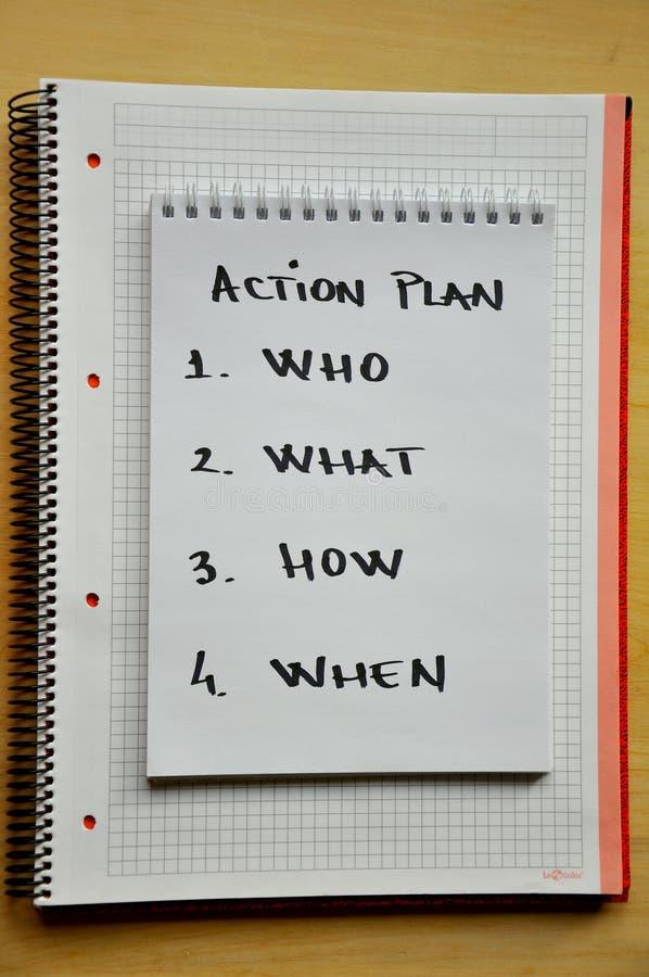 Conceito do plano de acção foto de stock
