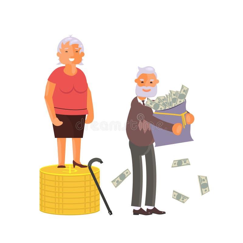 Conceito do plano do dinheiro da aposentadoria e do crescimento das economias ilustração royalty free