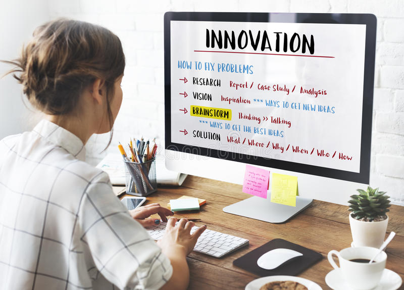 Conceito do plano do clique da faculdade criadora da inovação foto de stock