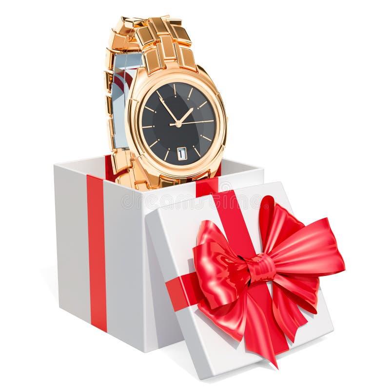 Conceito do presente, relógio de pulso dourado do ` s dos homens dentro da caixa de presente rende 3D ilustração royalty free