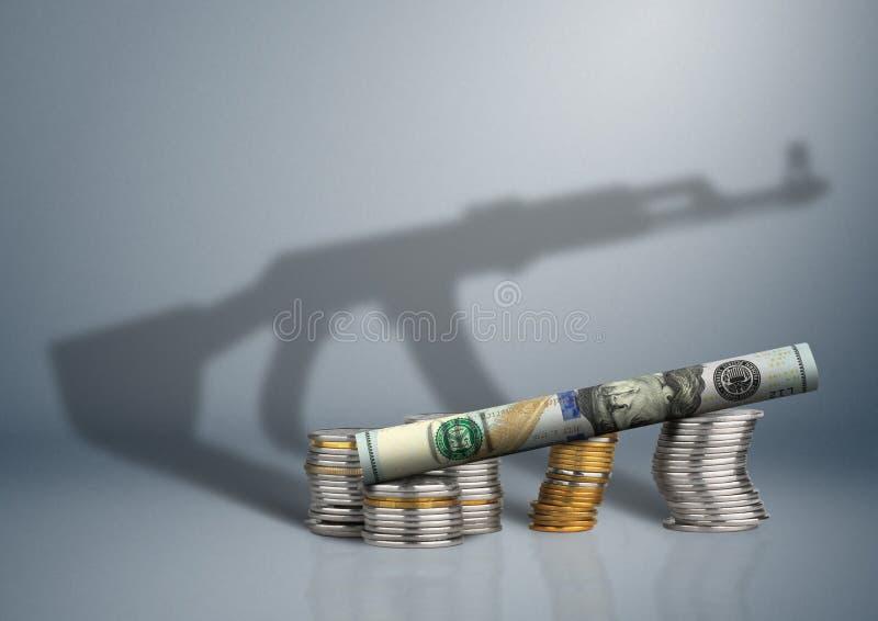 Conceito do pressuposto de defesa, dinheiro com sombra da arma fotos de stock