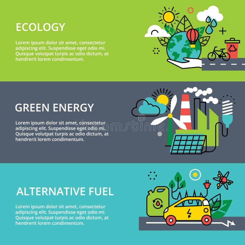 Conceito do problema da ecologia, da energia verde e do combustível alternativo ilustração do vetor