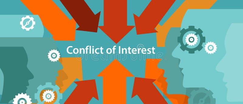 Conceito do problema de gestão empresarial do conflito de interesses ilustração stock