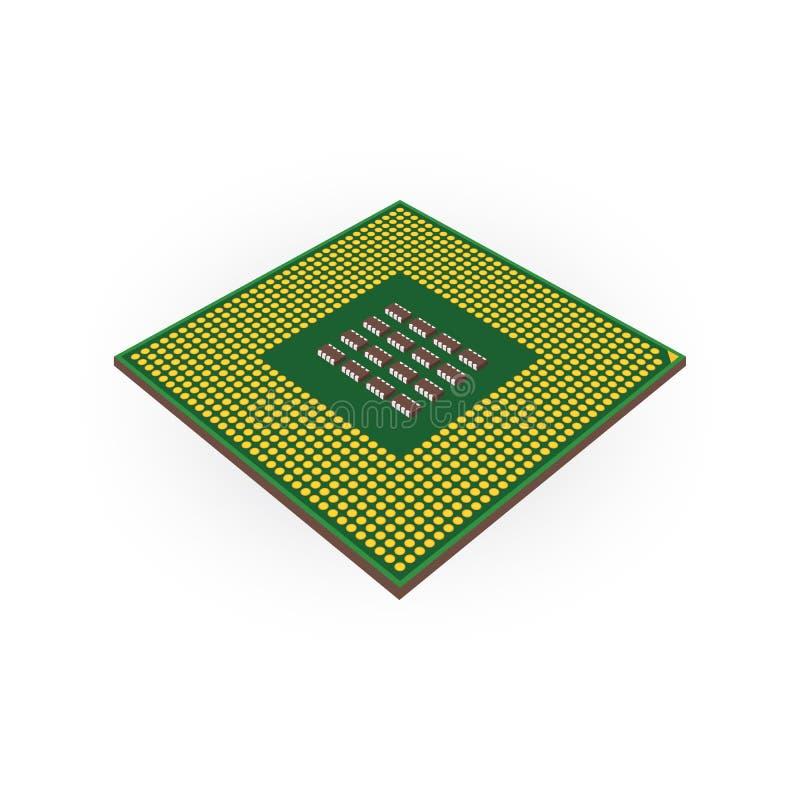 Conceito do processador central da unidade do processador central pela placa traseira ilustração do vetor