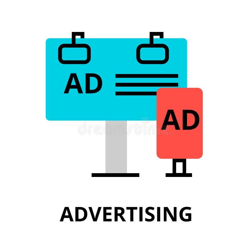 Conceito do processo da propaganda, do mercado e da promoção ilustração stock