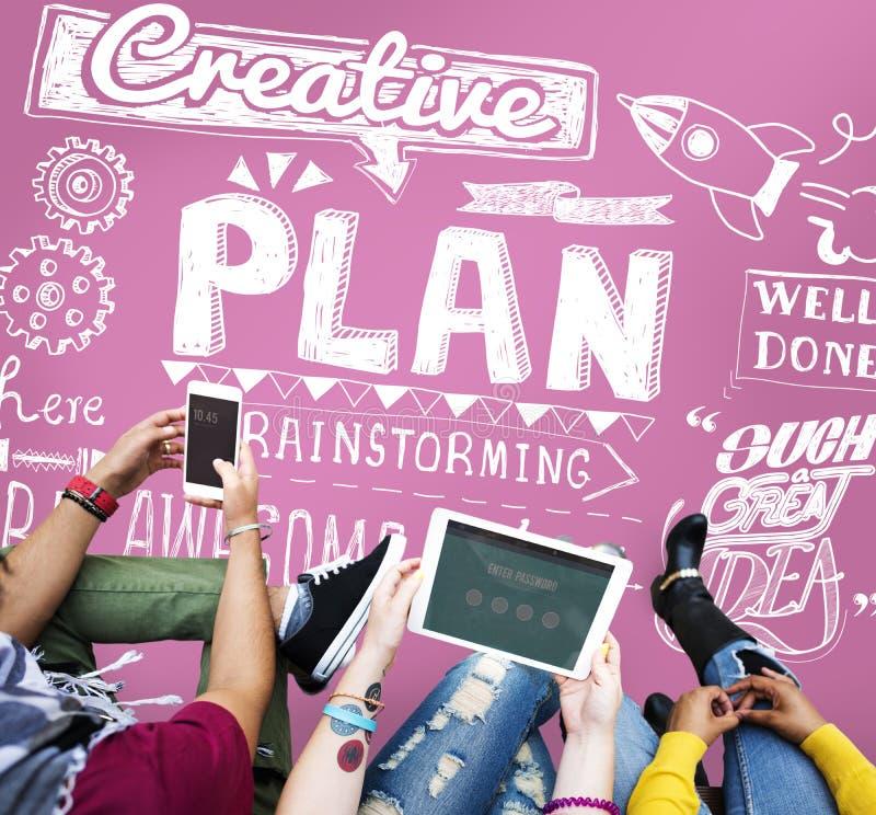 Conceito do processo das táticas da estratégia da visão do planeamento do plano imagens de stock
