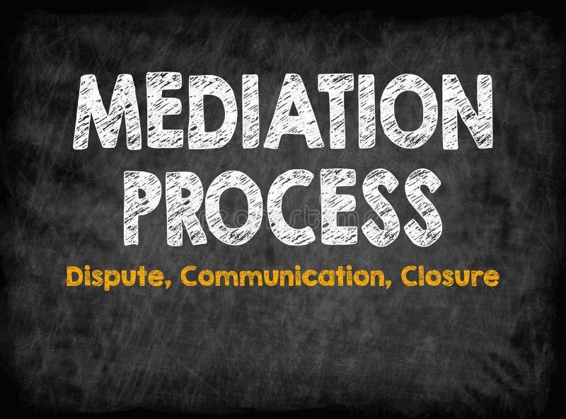 Conceito do processo de mediação Fechamento de uma comunicação da disputa Placa preta com textura, fundo ilustração stock