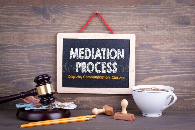 Conceito do processo de mediação Fechamento de uma comunicação da disputa Quadro em um fundo de madeira imagem de stock royalty free