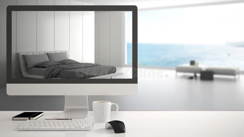 Conceito do projeto da casa do arquiteto, computador de secretária na mesa branca do trabalho que mostra o quarto branco moderno  imagem de stock royalty free