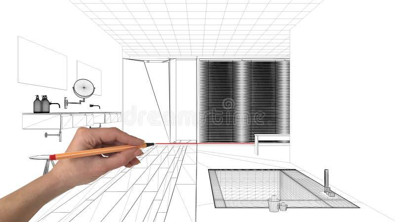 Conceito do projeto de design de interiores, arquitetura feita sob encomenda do desenho da mão, esboço preto e branco da tinta, m ilustração stock