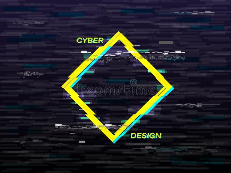 Conceito do pulso aleatório Rombo amarelo e azul Fundo retro de VHS Forma geométrica com efeito da distorção televisão ilustração stock