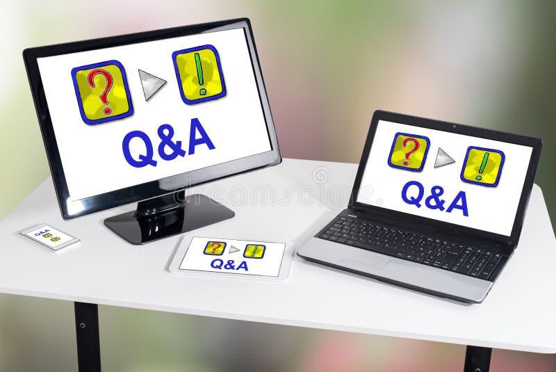 Conceito do Q&a em dispositivos diferentes imagens de stock royalty free
