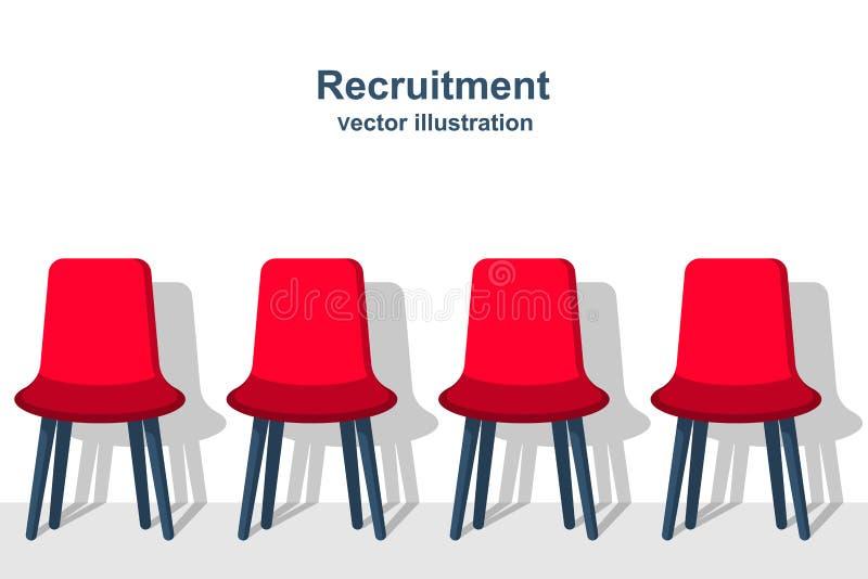 Conceito do recrutamento Fileira de cadeiras como um símbolo da vaga ilustração royalty free