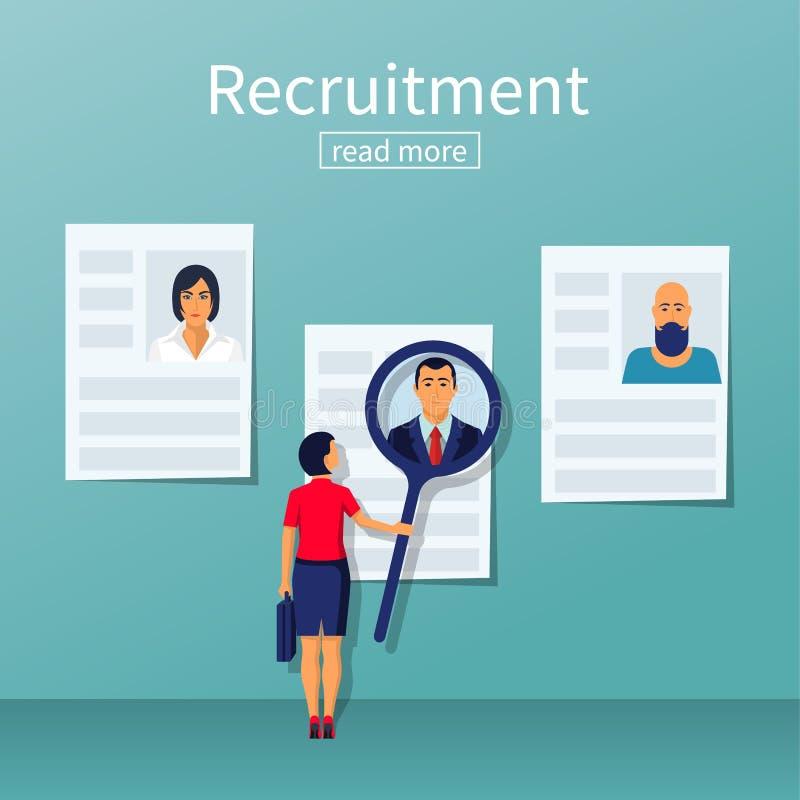 Conceito do recrutamento Mulher de negócios ilustração stock