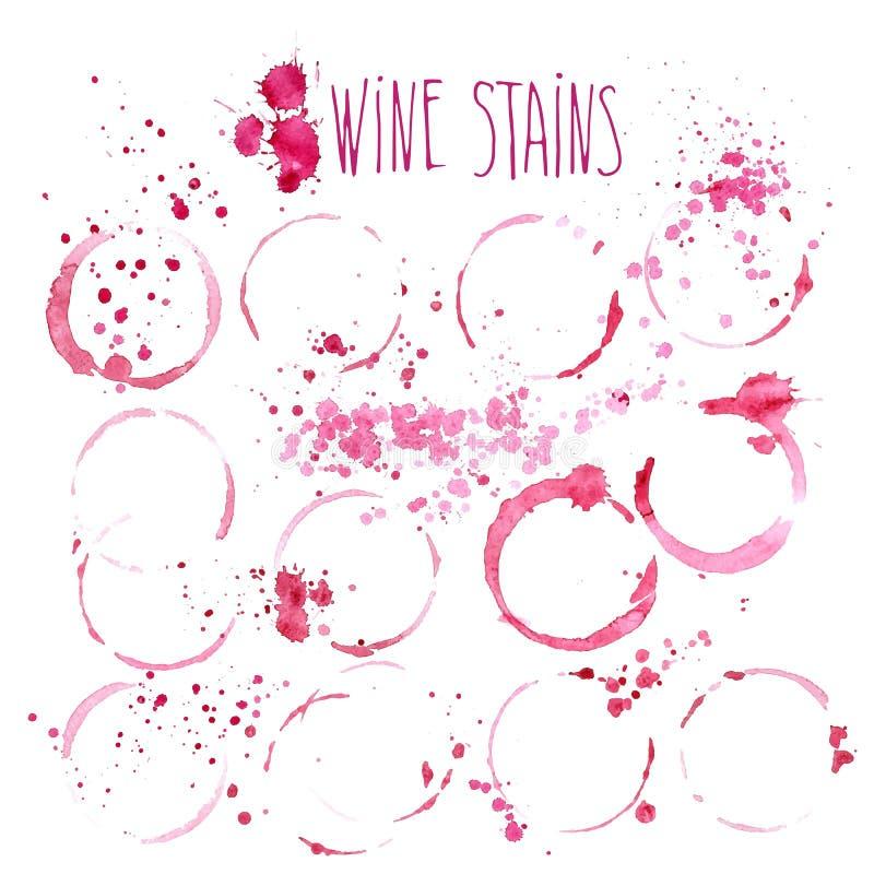 Conceito do respingo e das manchas do vinho ilustração do vetor