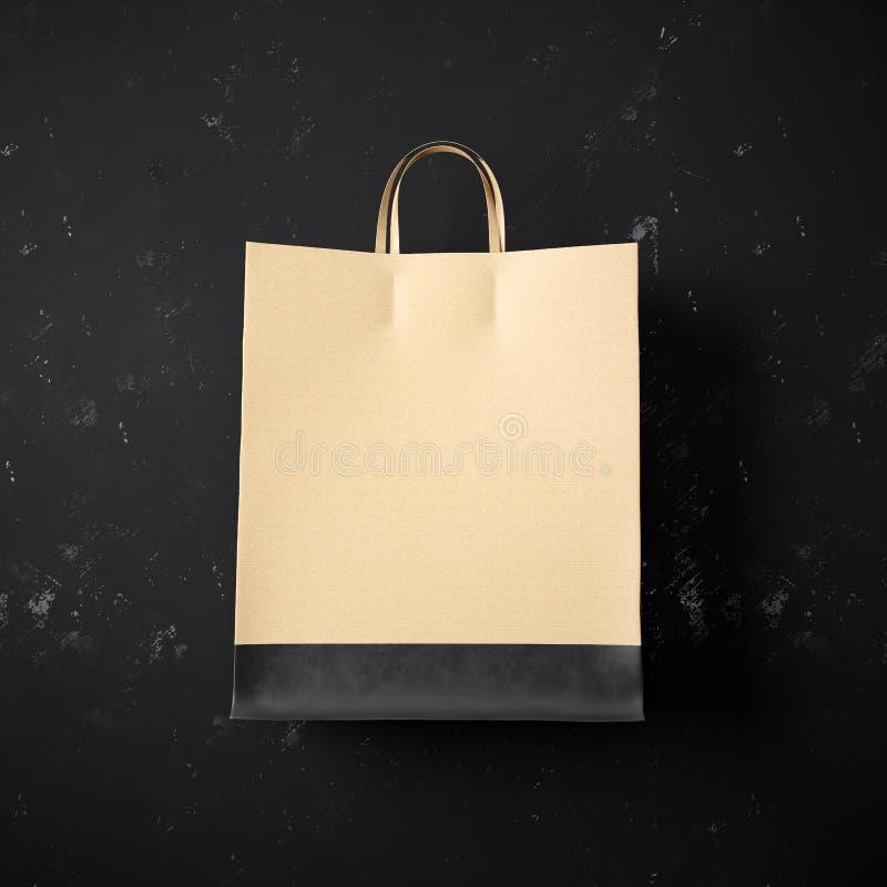 Conceito do saco de compras do ofício com a barra preta em fotografia de stock royalty free