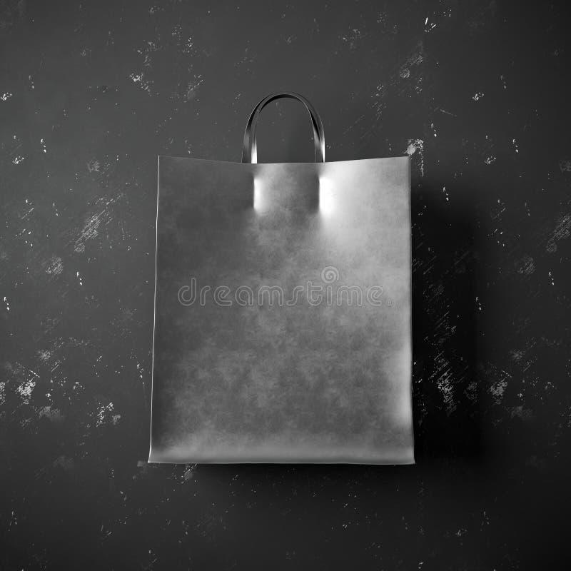 Conceito do saco preto do pacote no fundo escuro foto de stock