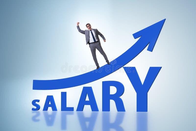 Conceito do salário crescente com homem de negócios imagem de stock