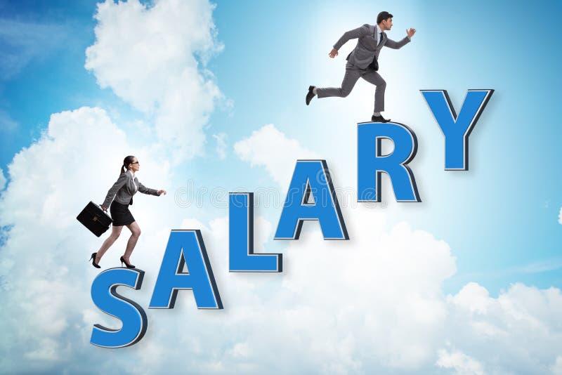 Conceito do salário desigual entre o homem e a mulher fotografia de stock