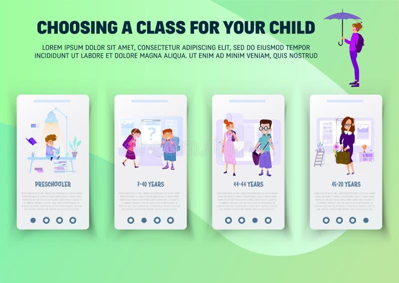 Conceito do schoolwork para o Web site ou o página da web Crianças de idades diferentes, desenhos animados a bordo do grupo da te ilustração royalty free