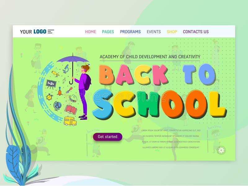 Conceito do schoolwork para o Web site ou o página da web Crianças e escola, aprendendo o jogo e o entretenimento, página de ater ilustração stock