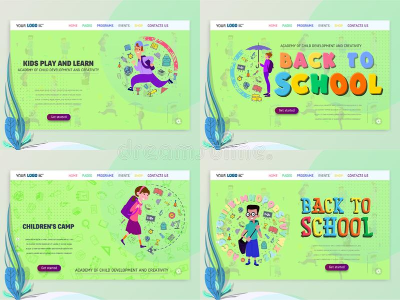Conceito do schoolwork para o Web site ou o página da web Crianças e escola, aprendendo o jogo e o entretenimento, página de ater ilustração do vetor