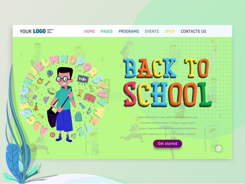 Conceito do schoolwork para o Web site ou o página da web Crianças e escola, aprendendo o jogo e o entretenimento, página de ater ilustração royalty free