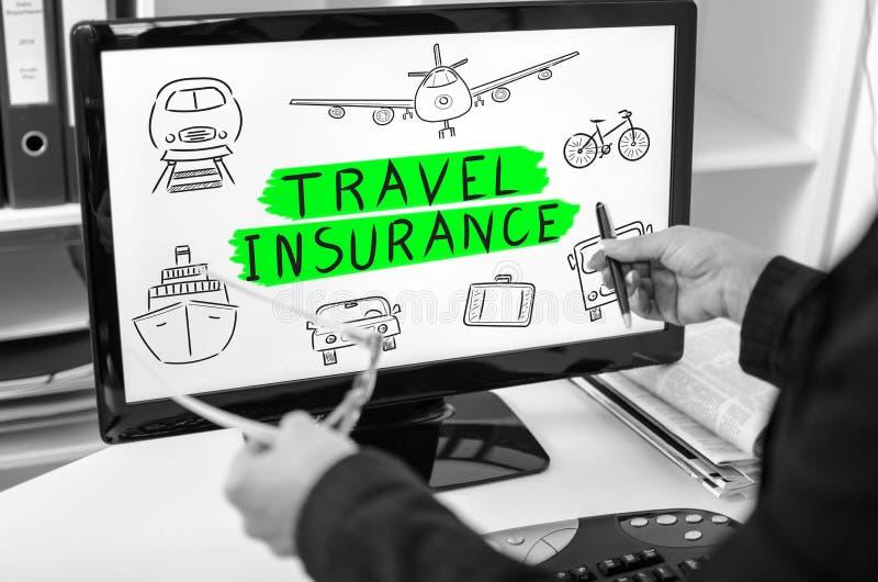 Conceito do seguro do curso em um monitor do computador imagem de stock