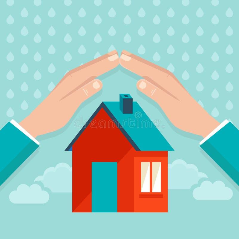 Conceito do seguro da casa do vetor no estilo liso ilustração stock