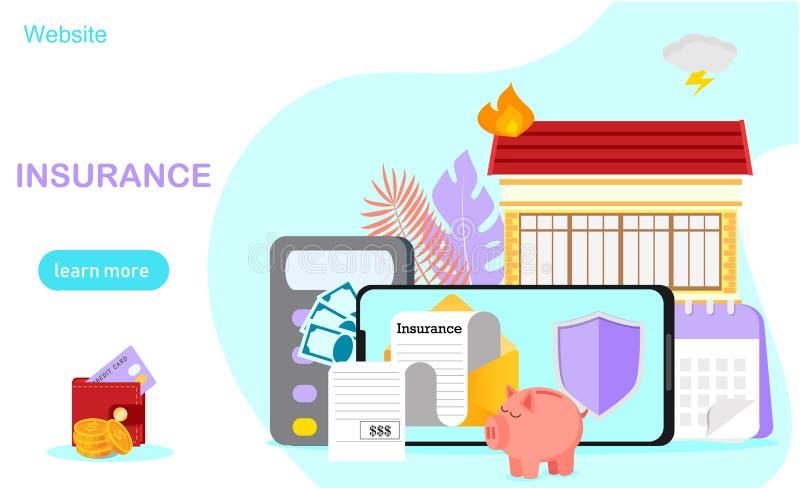 Conceito do seguro dos cuidados médicos, ilustração stock