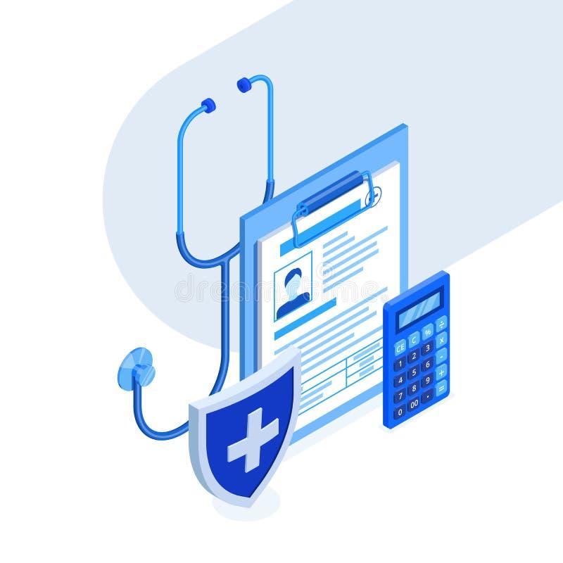 Conceito do seguro médico Ilustração isométrica do vetor 3d Ícones azuis do inclinação da medicina e dos cuidados médicos ilustração royalty free