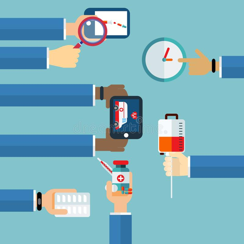 Conceito do seguro do tratamento médico de ciao ilustração stock